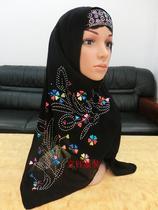 穆斯林头巾 方便盖头 长巾纱巾 回族服饰用品 新款亮片贴花 T08 价格:38.00