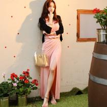 夏季新品韩国代购同款侧开叉无袖圆领长裙修身显瘦连衣裙拖地3563 价格:81.60
