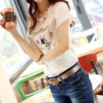 【天天特价】2013夏装新款女装韩版修身纯棉珠片打底衫短袖T恤女 价格:39.00