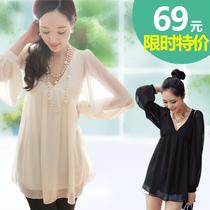 雪纺衫长袖上衣中长款雪纺衬衫女装秋装2013新款显瘦大码V领韩版 价格:69.00