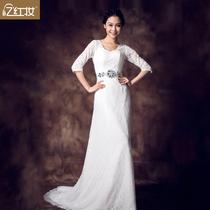 忆红妆鱼尾婚纱 最新包肩性感V领韩式蕾丝长袖小拖尾结婚婚纱礼服 价格:418.00