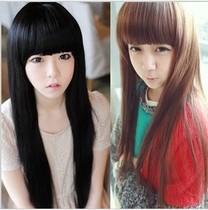非主流假发齐刘海长直发 女生中长修脸蓬松黑色新款圆脸亚麻色 价格:16.83
