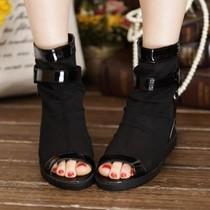 2013秋新款布面黑色平低跟鞋漆皮网纱鱼嘴鞋透气内增高女式短靴 价格:85.00