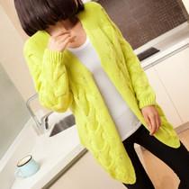 秋装新款2013 甜美韩版麻花开衫中长款长袖针织衫女装外套毛衣潮 价格:55.00