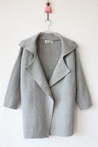 韩国oversize宽松复古翻领BF风蝙蝠袖毛衣外套中长款针织衫开衫 价格:118.75
