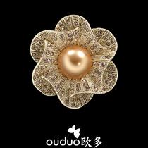 包邮教师节礼物 高档珍珠山茶花朵水晶胸针女 钻徽章西装别针胸花 价格:46.90