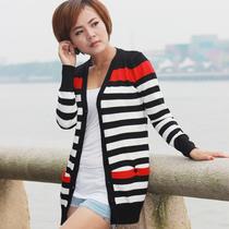 【淘牛品】新款韩版条纹开衫显瘦百搭毛衣薄外套 简约时尚针织衫 价格:59.80