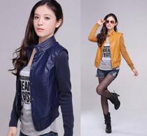 2013秋季新款女装韩版修身夹克PU皮衣立领休闲针织拼接开衫短外套 价格:148.00