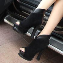 包邮2013欧美潮鞋真皮粗跟拼色圆头高跟女凉鞋性感鱼嘴凉靴短靴 价格:188.00