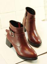 2013秋冬新款欧美复古短靴皮带扣马丁靴英伦粗跟裸靴中跟靴子女 价格:108.00