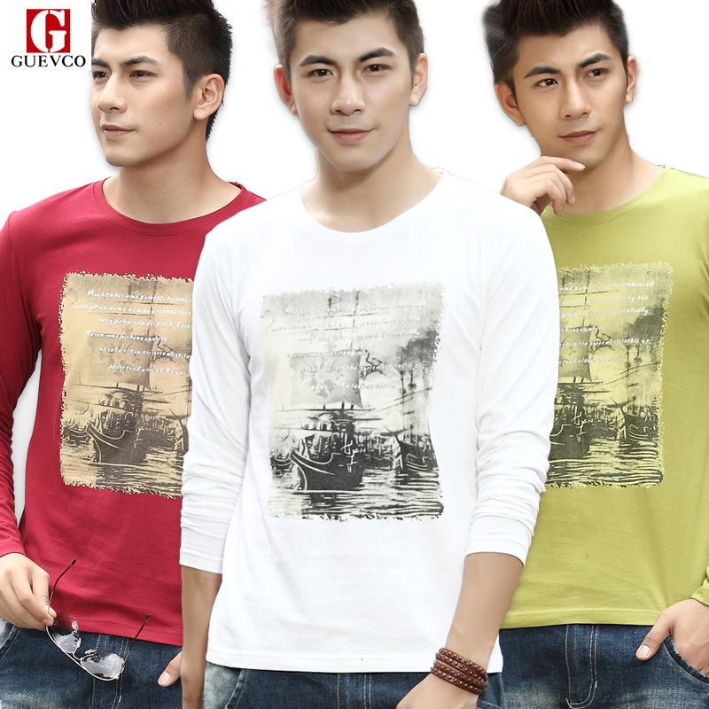 2013新款秋装男士长袖t恤男衣服韩版 修身打底衫 纯棉男装大码潮 价格:45.00