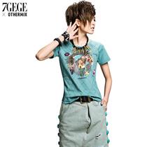 七格格欧美街头女士T恤 印花宽松圆领短袖女夏装3MA1016D 价格:99.00