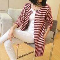 包邮新款秋装韩版条纹长袖中长款加厚宽松针织衫开衫外套女装毛衣 价格:69.30
