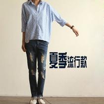 2013夏季新款女装韩版宽松 五分中袖翻领蝙蝠格子衬衫大码女短袖 价格:69.00