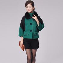 芙蓉妮2013冬装新款女装蝙蝠袖宽松狐狸毛领短款羊绒大衣毛呢外套 价格:629.10