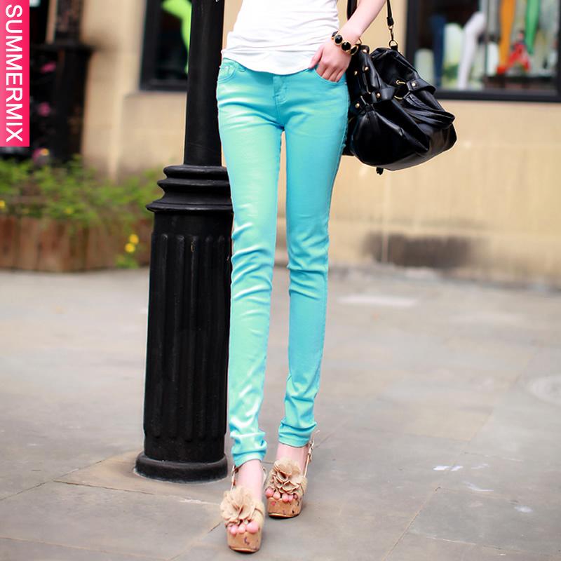 2013夏装新款糖果色彩色小脚铅笔裤韩版显瘦女装弹力牛仔裤打底裤 价格:35.00