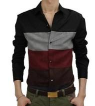 包邮美特斯邦威秋装男士长袖衬衣条纹韩版修身长袖衬衫男式寸衫潮 价格:69.00
