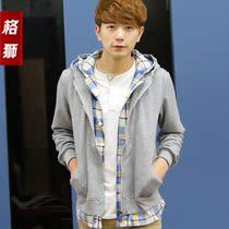 格狮2013秋款新款 男士卫衣 男装外套 假两件连帽 薄开衫 韩版潮 价格:128.00
