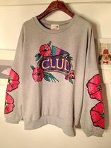 韩国代购2013秋装8月新款学院风菠萝水果花朵印花圆领蝙蝠袖T恤 价格:39.00