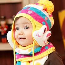 韩版 儿童帽0153宝宝帽子兔子护耳帽 2件套毛线帽围巾秋冬季 价格:23.90