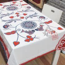 新中式风格 加厚桌布【雀跃枝头】纯棉印花台布 茶几布家居布艺 价格:85.00