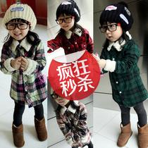 童装秋冬款 儿童装格子加绒衬衫加厚时尚百搭休闲衬衫 男女孩可穿 价格:39.90
