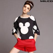 欧洲站2014夏装女装新品米奇印花套装短袖T恤红色短裤时尚两件套 价格:258.00