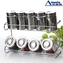 玻璃 调味瓶 厨房用品 调料盒 调味罐 置物架2层10件套 包邮 价格:25.20