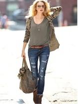 美国代购维多利亚的秘密牛仔裤女士磨破铅笔裤小脚裤新款正品 价格:799.00