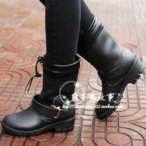 冬季新款机车雨靴 流行风皮靴式雨鞋 内里毛绒冬季保暖时尚水鞋 价格:29.00