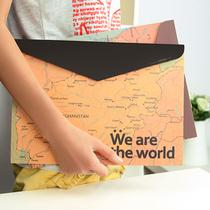 创意文具 简约复古办公学习用品 纸质地图文件袋 A4文件袋 50g 价格:1.90