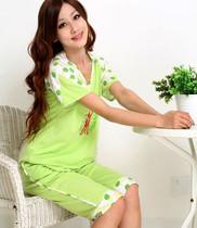 促销风暴!夏日清华 绿色圆点棉质公主 女士睡衣家居服 0725 价格:35.00
