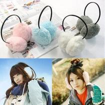 韩版秋冬女绒毛高架上戴式保暖耳套耳暖耳捂 毛绒可爱耳罩批发 价格:2.90