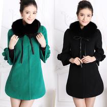 美欣雅专柜正品1275 大狐狸毛领可脱 韩版中长款七分袖羊绒大衣 价格:520.00