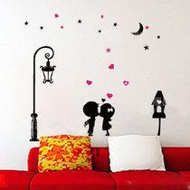 七夕圣诞礼物浪漫屋墙贴〖路灯下的爱情11-165〗客厅卧室背景装饰 价格:8.00