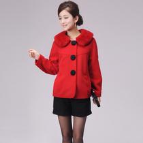 芙蓉妮2013冬装新款专柜正品女装 韩版獭兔毛领短款羊绒大衣外套 价格:699.00