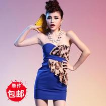 �劭幛巫� 包邮 爆款韩版女装新款个性拼接豹纹荷叶边裹胸修身夜店 价格:58.05