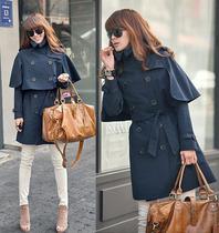 2013秋装新款女装欧美风斗篷式披肩可拆卸两穿风衣外套大码胖mm 价格:159.00
