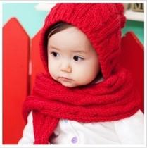 韩版秋冬儿童帽子围巾套帽宝宝帽子护耳帽毛线婴儿帽一体式 价格:22.00