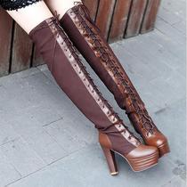 秋冬显瘦新品高跟马靴粗跟双色皮面高筒靴厚底女靴韩版棕色黑色 价格:119.00