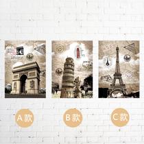 复古邮票欧洲风景 埃菲尔 比萨斜塔 凯旋门三联装饰画无框画画芯 价格:40.00