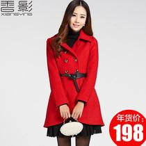 香影毛呢外套 女 2013新中长款毛呢大衣女新款加厚双排扣毛呢外套 价格:299.00