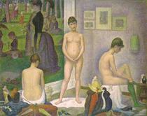 后印象派油画 人物装饰画临摹名画 乔治修拉Georges Seurat女模特 价格:528.00