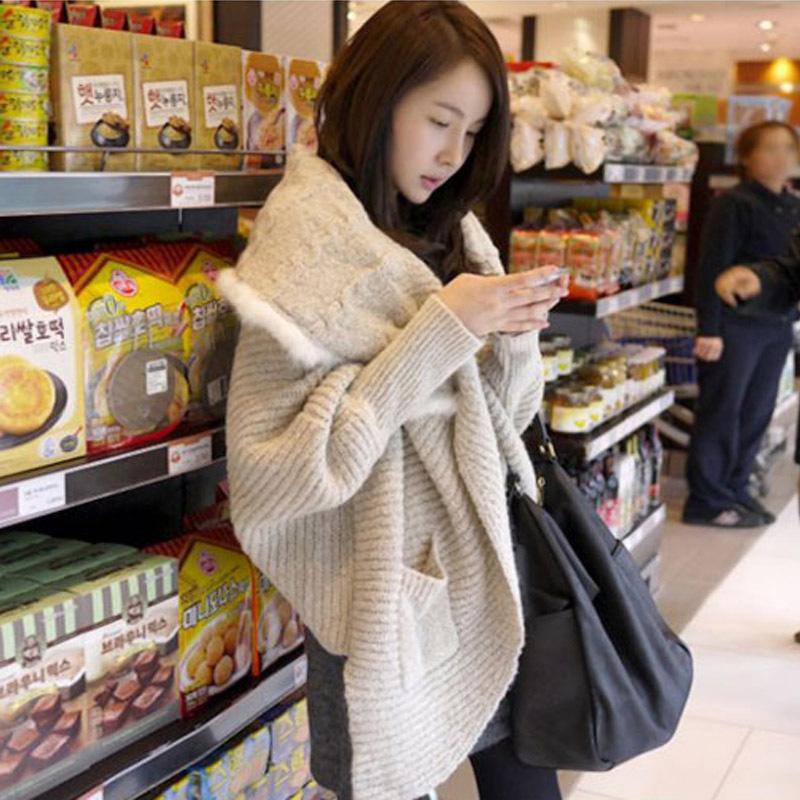 Epin11韩版兔毛披肩蝙蝠袖2013新款毛衣女 长款宽松开衫毛衣外套 价格:129.00