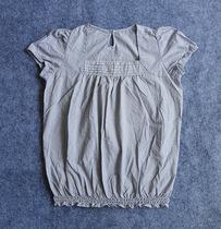 日系森系外贸原单POUDOUDOU英伦细格子经典清新  娃娃衫 短袖衬衫 价格:35.00