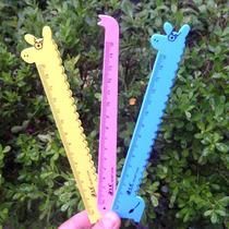 韩国热销创意文具 学生奖品卡通动物 塑料尺 长颈鹿尺子直尺15cm 价格:0.30