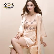 金三塔女春秋季100%桑蚕丝睡衣套装 蝴蝶绣蕾丝真丝睡裙睡袍2件 价格:1276.80