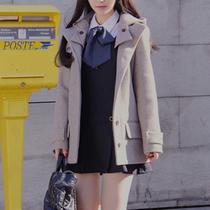 2013韩国代购呢子修身呢大衣女款秋冬装韩版新款斗篷毛呢外套 价格:118.00