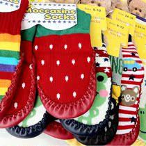 满包邮卡通造型宝宝袜儿童袜子猪皮底婴儿袜秋冬地板袜防滑拖鞋袜 价格:12.60