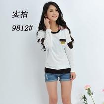 森马艾格少女装专柜 2014春装新款女款韩版衬衣领宽松长袖T恤卫衣 价格:59.00